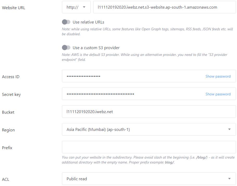publii cms s3 server settings